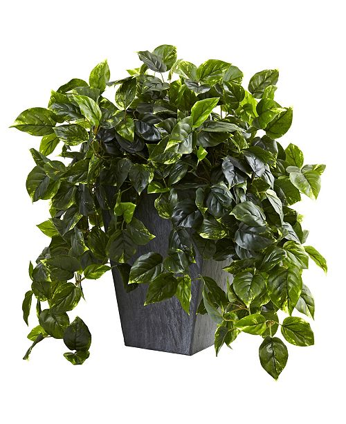 Nearly Natural Hanging Pothos w/ Slate Planter UV Resistant