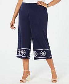 MICHAEL Michael Kors Plus Size Studded Wide-Leg Pants