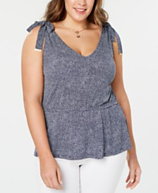 MICHAEL Michael Kors Plus Size Mosaic Shoulder-Tie Top