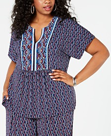 MICHAEL Michael Kors Plus Size Wave Mosaic Border Top