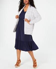 MICHAEL Michael Kors Plus Size Space-Dyed Striped Cardigan