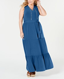 MICHAEL Michael Kors Plus Size Sleeveless Tiered-Skirt Maxi Dress