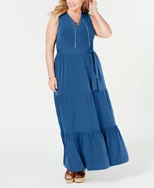 MICHAEL Michael Kors Plus Size Sleeveless Tiered-Skirt Maxi Dress