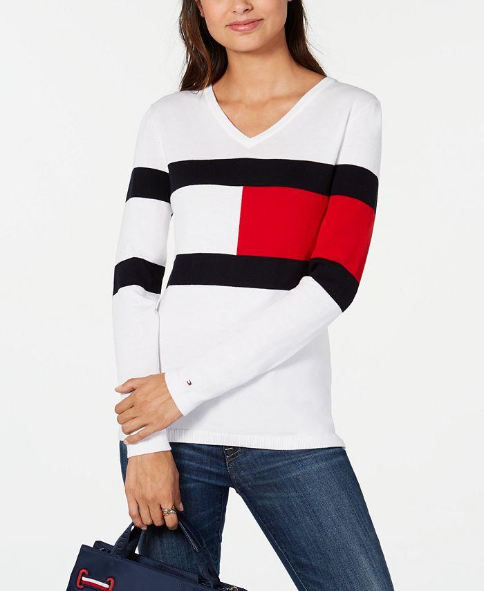 Tommy Hilfiger - Colorblocked V-Neck Cotton Sweater