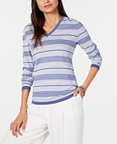 77954b13 Tommy Hilfiger Striped Cotton V-Neck Sweater, Created for Macy's
