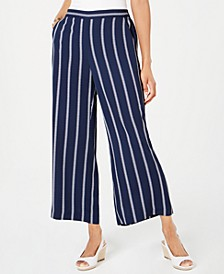 Striped Cropped Wide-Leg Pants, Created for Macy's