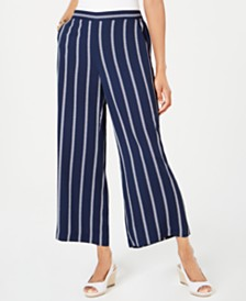 Charter Club Striped Cropped Wide-Leg Pants, Created for Macy's