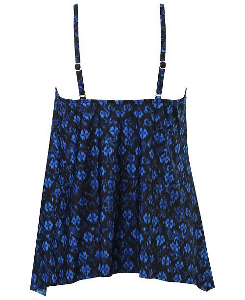 035258e97ca27 ... Miraclesuit Sunset Cay Printed High-Neck Keyhole Handkerchief-Hem  Tankini Top ...