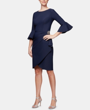 Image of Alex Evenings Bell-Sleeve Draped Compression Sheath Dress