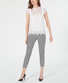 Elie Tahari Zandaya Lace Top & Jessalyn Checkered Ankle Pants