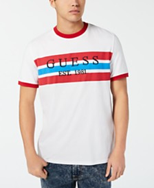 GUESS Men's Striped Logo T-Shirt