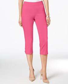 JM Collection Petite Lattice-Hem Capri Pants, Created for Macy's