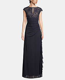B&A by Betsy & Adam Lace Cutout-Top Gown