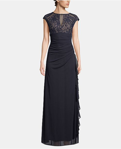 Betsy & Adam Lace Cutout-Top Gown