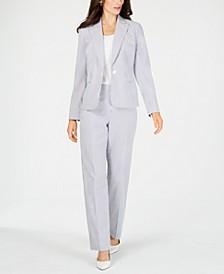Single-Button Seersucker Pantsuit