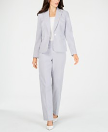 Le Suit Single-Button Seersucker Pantsuit