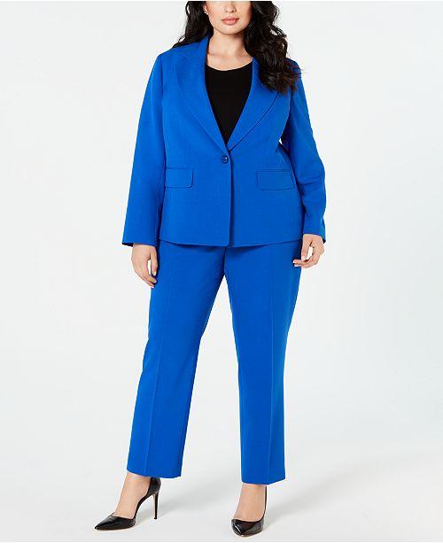 Le Suit Plus Size Single-Button Notch-Collar Pantsuit