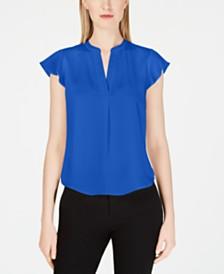 Calvin Klein Flutter-Sleeve V-Neck Woven Top
