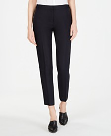 Calvin Klein Linen Button-Waist Pants