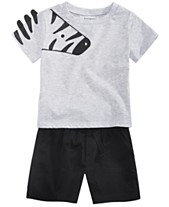 899586805 First Impressions Baby Boys Animal Graphic T-Shirt & Shorts Separates,  Created for Macy's
