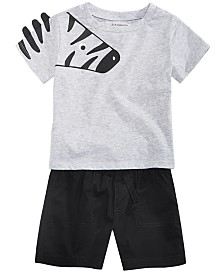 First Impressions Baby Boys Animal Graphic T-Shirt & Shorts Separates, Created for Macy's