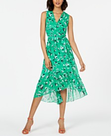 Jessica Howard Petite Flounce-Hem Midi Dress