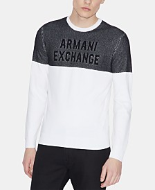 A|X Armani Exchange Men's Two-Tone Logo Sweater