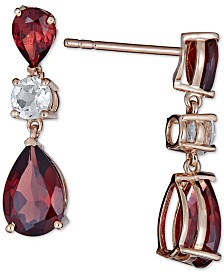 Amethyst (6 ct. t.w.) & White Topaz (1/2 ct. t.w.) Drop Earrings in 14k Rose Gold(Also Available in Garnet)