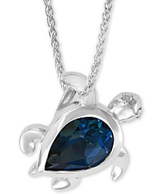 "EFFY® London Blue Topaz (2-3/8 ct. t.w) & Diamond Accent Turtle 18"" Pendant Necklace in Sterling Silver"