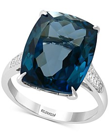 EFFY® London Blue Topaz (13 ct. t.w) & Diamond (1/8 ct. t.w.) Ring in 14k White Gold