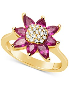 Certified Ruby (1-3/4 ct. t.w.) & Diamond (1/8 ct. t.w.) Flower Ring in 14k Gold