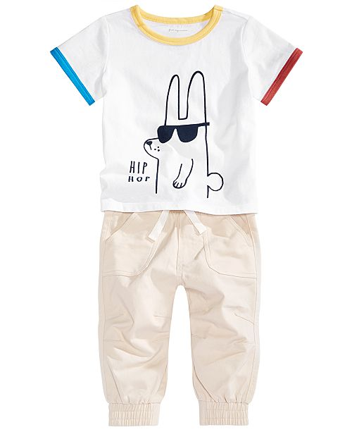 First Impressions Baby Boys Hip Hop Graphic T-Shirt & Jogger Pants Separates, Created for Macy's