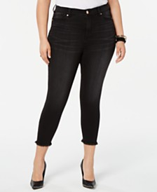 Celebrity Pink Trendy Plus Size Frayed Skinny Jeans