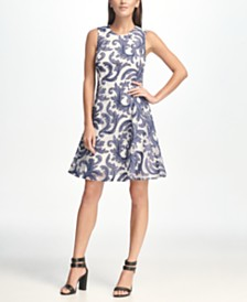 DKNY Sleeveless Denim Print Mesh Fit & Flare Dress