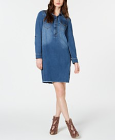 I.N.C. Long-Sleeve Jean Dress, Created for Macy's