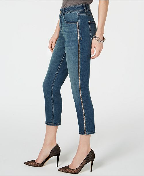 INC International Concepts INC Sparkle-Seam Cropped Curvy-Fit Jeans, Created for Macy's