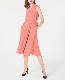 Printed Split-Neck Midi Dress