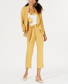 Bar III Textured Crepe Jacket, Printed Spaghetti Strap Top & Crepe Tie-Waist Pants, Created for Macy's