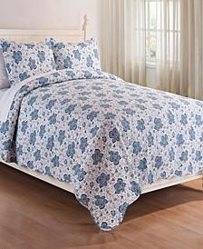 Chesapeake Bay Blue Full Queen 3 Piece Quilt Set