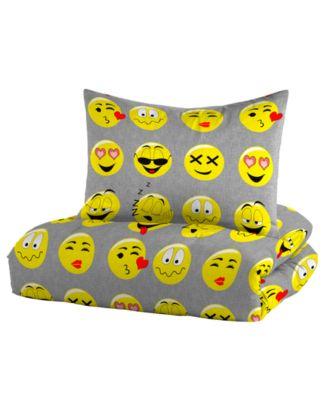 Comforter Set Emoji Smiley Bed in a Bag White Yellow Smiles Emojis Bedding 5 pcs