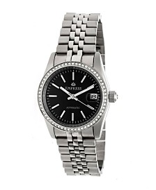 Empress Constance Automatic, Silver Case, Black Dial, Silver Stainless Steel Watch 37mm