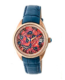 Helena Automatic Blue Leather Watch 36mm