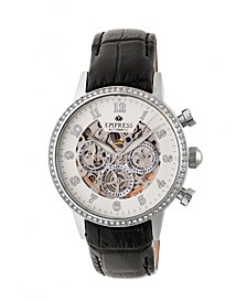 Beatrice Automatic Silver Case, Black Leather Watch 38mm