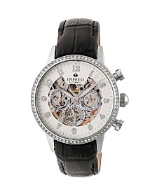 Empress Beatrice Automatic Silver Case, Black Leather Watch 38mm