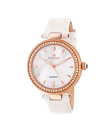 Louise Automatic White Leather Watch 36mm