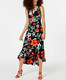 Thalia Sodi Printed Flounce-Hem Maxi Dress, Created for Macy's