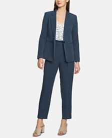 1.STATE One-Button Washed-Twill Jacket, Lace-Trim Top & Tapered-Leg Ankle Pants