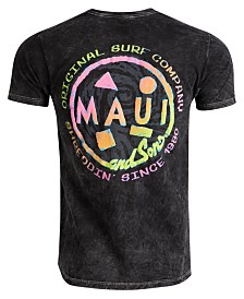 Maui and Sons Men's Mineral Wash Amped Cookie Logo T-Shirt