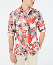 I.N.C. Men's Abstract Floral-Print Shirt, Created for Macy's