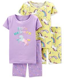 Carter's Little & Big Girls 4-Pc. Cotton Unicorn Pajamas Set